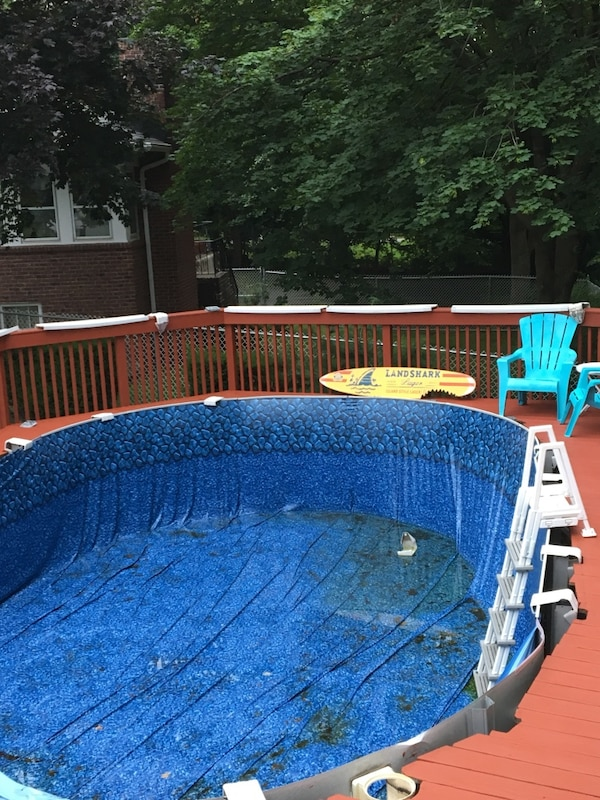 Blue and white above ground pool liner