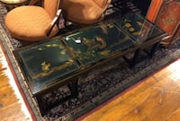 (SAE) Asian Coffee Table with Pictural Designs Glass Top Panels