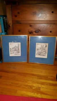 two blue and white wooden framed wall decors 548 km