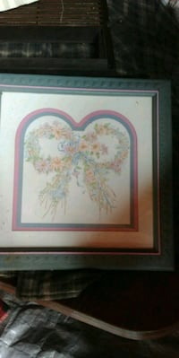 white and pink flower painting with brown wooden f Martinsburg