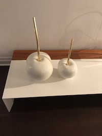 Pair of white and gold Apples -modern Art pieces. Toronto, M4W 1A3