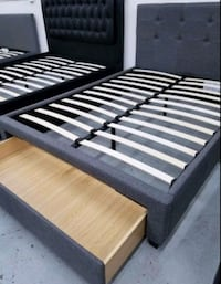 Brand New Queen Size Grey Upholstered Platform Bed Frame w/Storage Dra Silver Spring, 20902