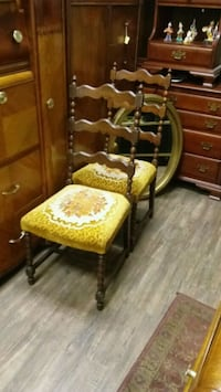 2 Gold  embroidered chairs Cheswick
