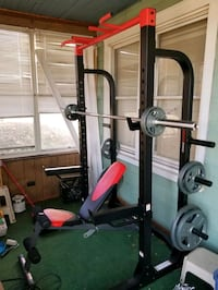 Weider pro weight rack, weights and bench
