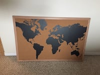 World map with brown frame