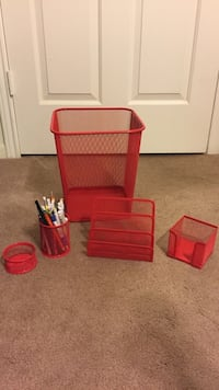 Red plastic pet cage and two white plastic containers Rowland Heights, 91748