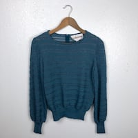 Vintage Castleberry Teal Open Knit Top Size S/M Edinburg, 78541