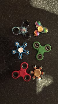 six assorted hand spinners