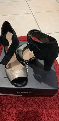 Pair of black leather open toe ankle strap heels Brentwood, 11717