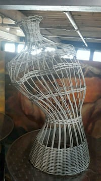 white metal wire dress form
