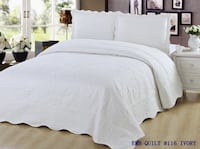 New Quilt Size 3 pc Bedding Bed set / Bedspread Coverlet / Embroidered / 2 pillow sham (Ivory) Markham