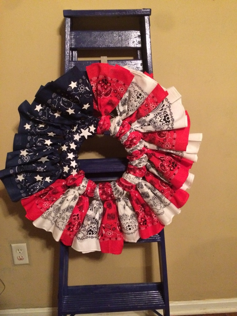 red , blue and white wreath