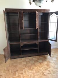 Brown wooden tv hutch with cabinet Côte Saint-Luc, H4W 2T8