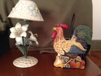 Brown, red and black metal rooster figurine and white petaled flower base table lamp Lethbridge, T1H 2J7