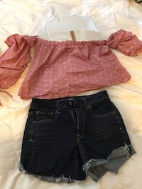women's two black and red denim shorts New Orleans, 70115
