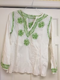 White top with green embroidery long sleeves