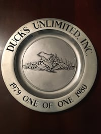 Pewter Vintage Duck's Unlimited Plate Jackson, 39211