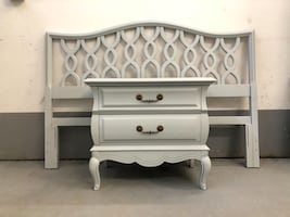French Provincial Single Nightstand/End Table & Headboard
