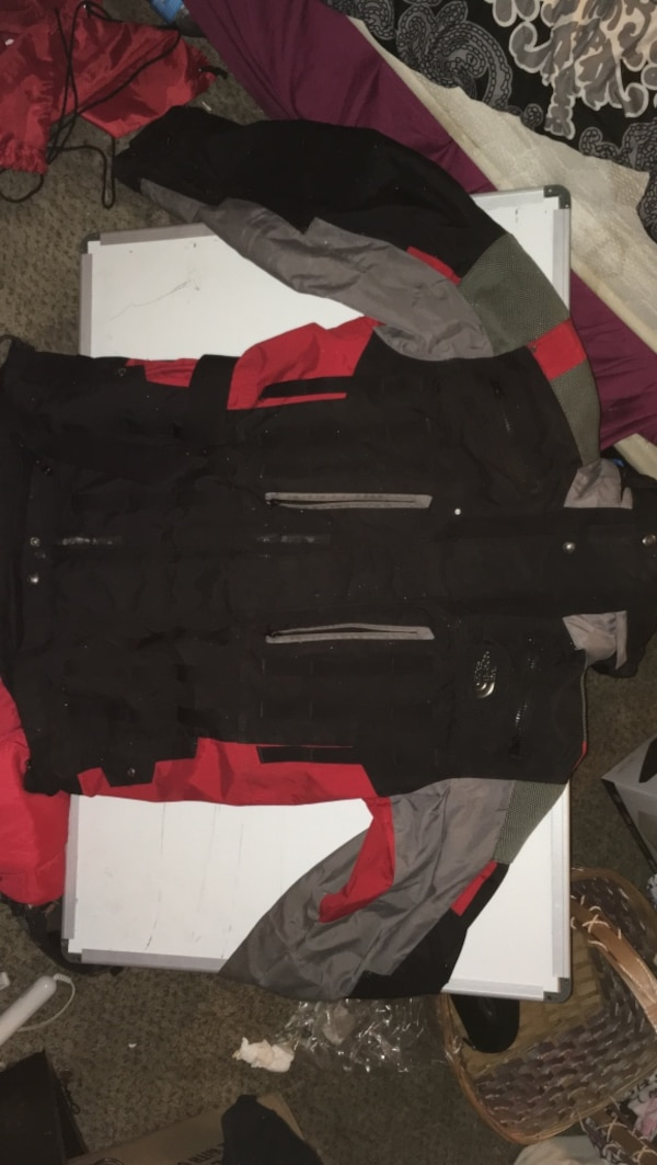 The North Face vintage Black, red, and gray zip-up jacket