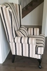 white and black striped fabric sofa chair Brampton
