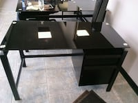 2) steel 2 drawer desks w glass top Medford, 11763