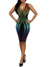Bodycon Dress - Vibrant Accents