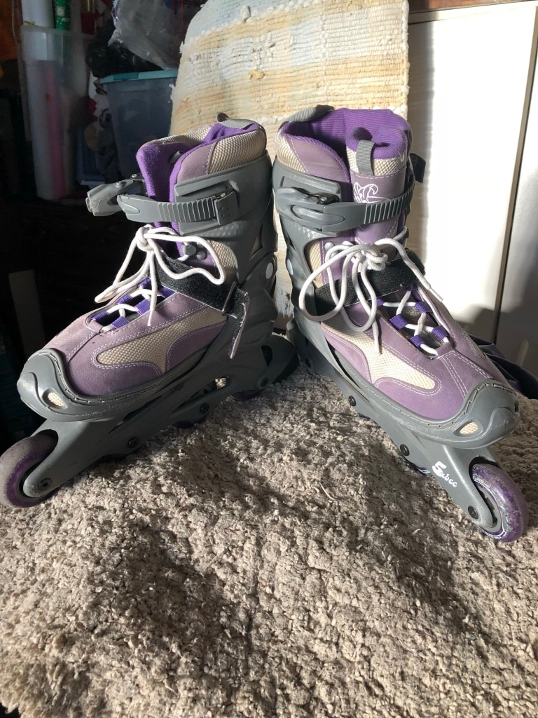pair of gray inline skates, used for sale  Hollister