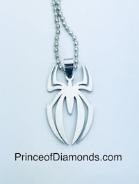 Silver coloured Spider-Man Symbol pendant charm with necklace Brampton, L6R 2C5