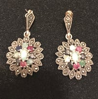 pair of real silver 9.25 n real stone