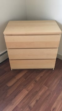 Brown wooden 3-drawer dresser