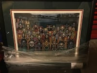 Brown wooden framed painting of people Sparks, 89436
