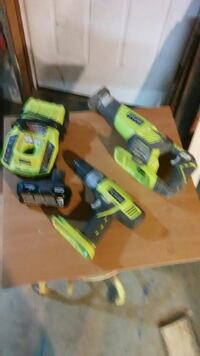 two assorted green Ryobi power tools