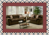 Chocolate fabric sofa and loveseat Prince George's County