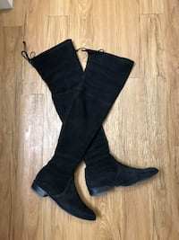 Stuart Weitzman Thigh High Black Suede Flat Boots  CALGARY