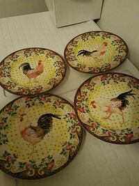 4 rooster plates. By American Atelier Albuquerque, 87121
