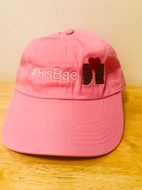 Pink and black fitted cap