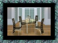 Glass dining table with 4 chairs Laurel