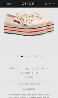 Gucci canvas platform sneakers size 39 New York