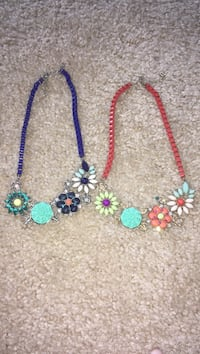 two red and purple flower pendant necklaces