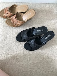 2 Pairs of black and brown  Kenneth Cole leather wedge open toe sandals. Size 6 East Honolulu, 96825