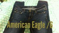 size 6 black American Eagle Outfitters whiskered faded jeans
