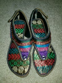 pair of multicolored floral slip-on shoes North Providence, 02904