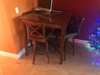 Rectangular brown wooden table with six chairs dining set 2393 mi