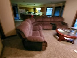 Power 3 reclining sectional, brownish tan with dark brown term,