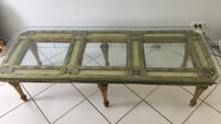 Rectangular gold Leaf glass top table Miami