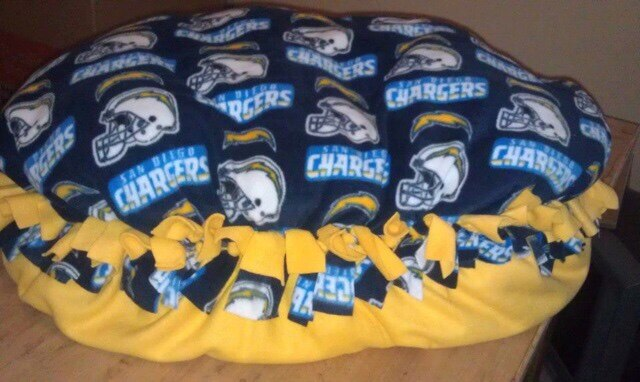 Comfy Critter throw back SD Chargers bed