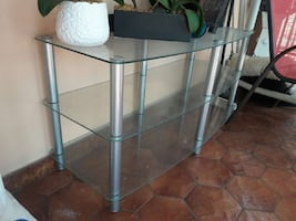 silver base glass top two tier side table