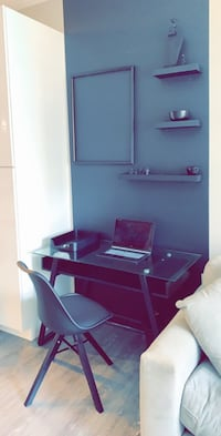 Moving Sale - Black and Glass Modern Desk