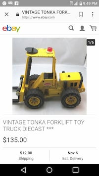 vintage yellow and black TONKA forklift toy truck