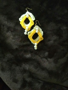 white-and-yellow hook earrings